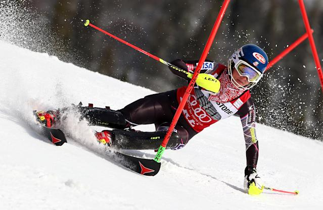 United States's Mikaela Schiffrin competes during the first run of an alpine ski women's World Cup slalom, in Are, Sweden, Saturday, March 8, 2014. (AP Photo/Alessandro Trovati)