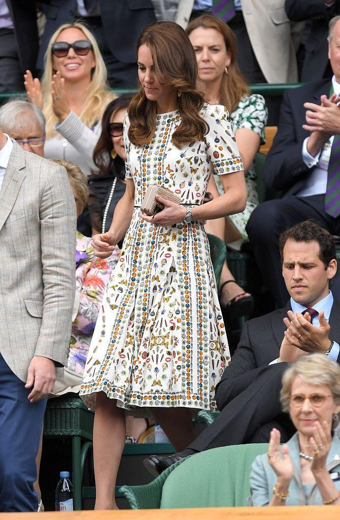 <p>Kate sported a new dress by Alexander McQueen, showcasing the 'Obsessions Talisman' print, at Wimbledon.</p>