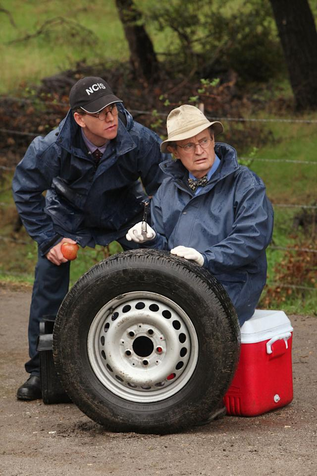 """Detour"" -- The NCIS team races to track down Ducky (David McCallum, right) and Jimmy (Brian Dietzen, left) after the two disappear while transporting a body from a crime scene."