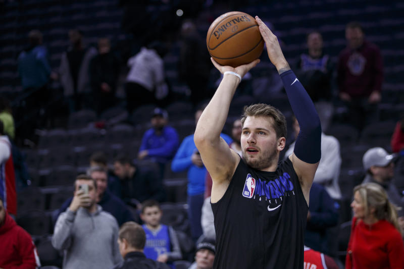 Dallas Mavericks forward Luka Doncic in action prior to the first half of an NBA basketball game against the Philadelphia 76ers, Friday, Dec. 20, 2019, in Philadelphia. The Mavericks won 117-98. (AP Photo/Chris Szagola)