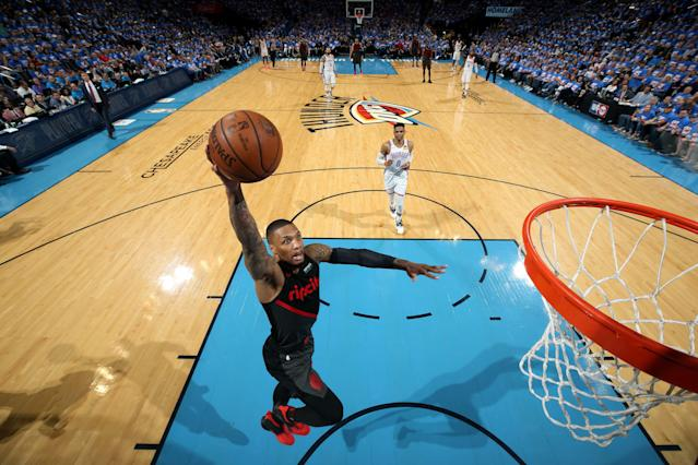 Damian Lillard has been unreal for the Blazers this series. (Photo by Zach Beeker/NBAE via Getty Images)