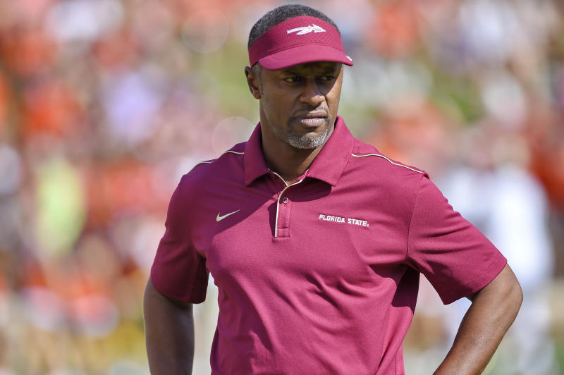 Florida State head coach Willie Taggart watches his team before the start of an NCAA college football game against Clemson Saturday, Oct. 12, 2019, in Clemson, S.C. (AP Photo/Richard Shiro)