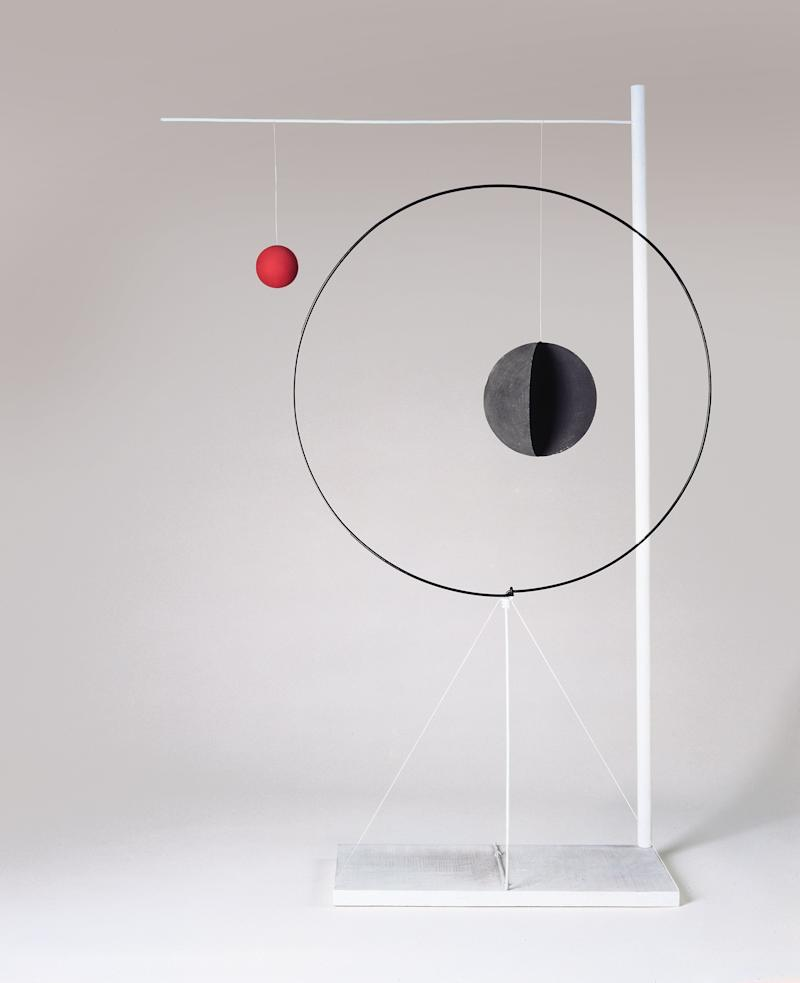 "Alexander Calder, Object with Red Ball, 1931. Wood, sheet metal, rod, wire, and paint. 61-1/4"" × 38-1/2"" × 12-1/4"" (155.6 cm × 97.8 cm × 31.1 cm) No. 73018."
