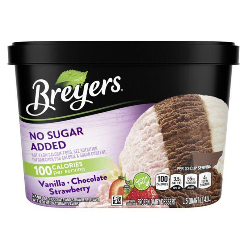 """<p><strong>Breyers</strong></p><p>instacart.com</p><p><strong>$3.99</strong></p><p><a href=""""https://go.redirectingat.com?id=74968X1596630&url=https%3A%2F%2Fwww.instacart.com%2Ffood-lion%2Fproducts%2F93373-breyers-frozen-dairy-dessert-vanilla-chocolate-strawberry-48-oz%3Firgwc%3D1%26clickid%3DSqsWgfzAzxyOWYbwUx0Mo38VUkE0OJU6hRE5Ro0&sref=https%3A%2F%2Fwww.goodhousekeeping.com%2Ffood-products%2Fg34313693%2Fbest-sugar-free-ice-cream%2F"""" rel=""""nofollow noopener"""" target=""""_blank"""" data-ylk=""""slk:Shop Now"""" class=""""link rapid-noclick-resp"""">Shop Now</a></p><p>This old-school Neopolitan tub of strawberry, chocolate, and vanilla has a little something for everyone in the family. Sweetened with malitol syrup and a touch of Splenda, works for almost any diet, at only 110 calories per serving. </p><p><em>Per 2/3 cup: 110 cals; 4g fat; 17g total carbs; 4g total sugar, 0 added sugar, 8g sugar alcohol; 2g protein</em></p>"""