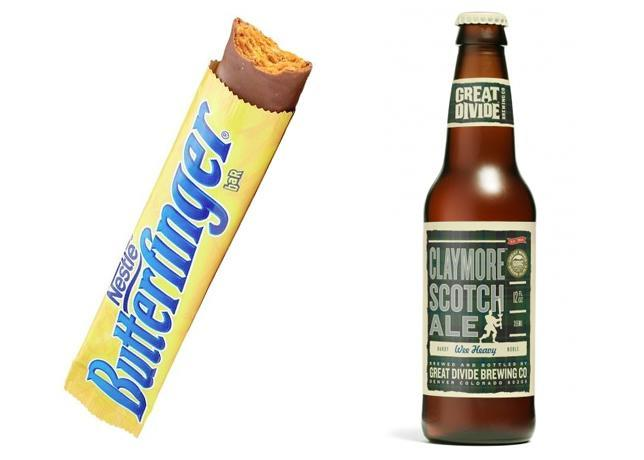 """<div class=""""caption-credit""""> Photo by: Bon Appetit</div><b>Butterfinger & Great Divide Brewing Claymore Scotch Ale</b> <p> The rarely brewed Scotch ale style, a.k.a. """"Wee Heavy,"""" usually drinks like dessert thanks to its characteristic heavy malt sweetness. Great Divide's version is a bit lighter in body, with subtler sweetness, which makes the beer perfect alongside the buttery, peanutty Butterfinger. The beer's notes of toffee and caramel add dimension to the candy bar, which brings just the right amount of chocolate to the party. </p> <p> <b>See more:</b> <br> <b><span>7 Most Common French Toast Mistakes <br></span></b> <b><a rel=""""nofollow noopener"""" href=""""http://www.bonappetit.com/recipes/slideshow/25-ways-to-use-sriracha?slide=1?mbid=synd_yshine"""" target=""""_blank"""" data-ylk=""""slk:25 Ways to Use Sriracha"""" class=""""link rapid-noclick-resp"""">25 Ways to Use Sriracha</a></b> <br> </p>"""