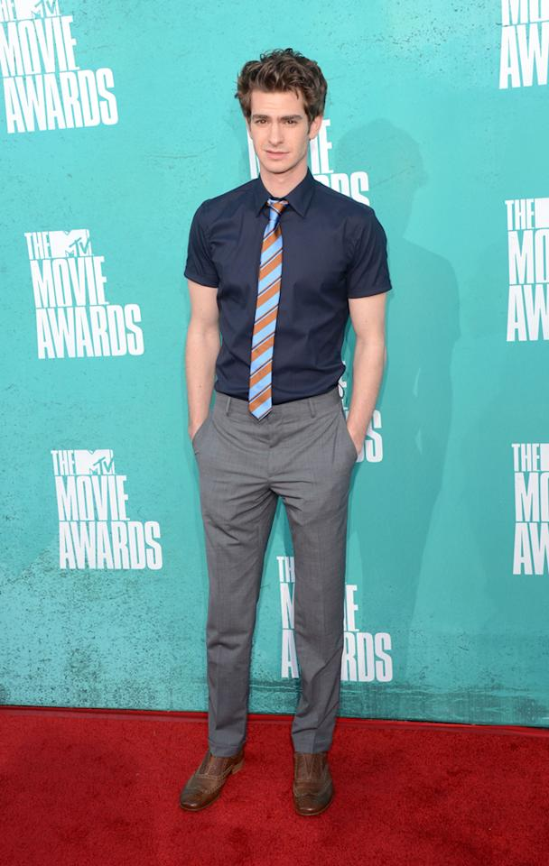 Andrew Garfield arrives at the 2012 MTV Movie Awards.