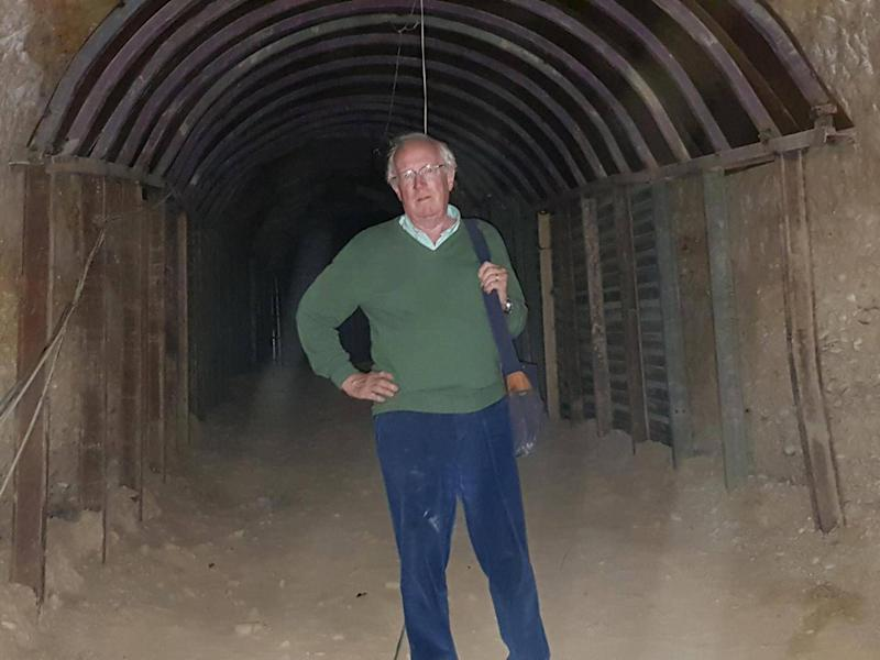 Independent Middle East Correspondent Robert Fisk in one of the miles of tunnels hacked beneath Douma by prisoners of Syrian rebels (Yara Ismail)