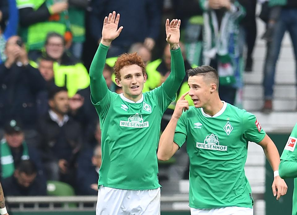 Josh Sargent (left) scored his second goal of the season Saturday for Werder Bremen. (Getty)