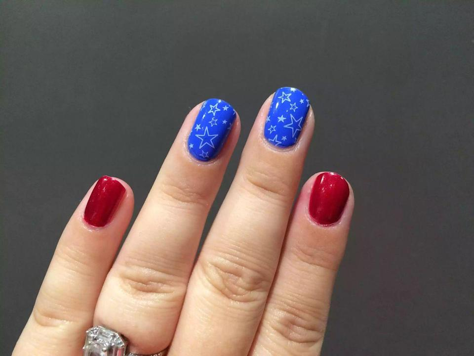"""<p>Short on time? Opt for press on nails that take the guesswork out of nail art. </p><p><a class=""""link rapid-noclick-resp"""" href=""""https://www.impressmanicure.com/shop-all/impress-press-on-manicure-day-stars"""" rel=""""nofollow noopener"""" target=""""_blank"""" data-ylk=""""slk:SHOP PRESS ON NAILS"""">SHOP PRESS ON NAILS</a></p>"""