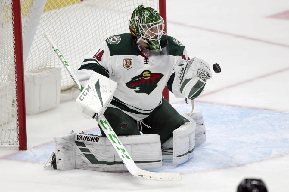 Minnesota Wild goaltender Kaapo Kahkonen stops a shot by the Anaheim Ducks during the second period of an NHL hockey game in Anaheim, Calif., Wednesday, Jan. 20, 2021. (AP Photo/Alex Gallardo)