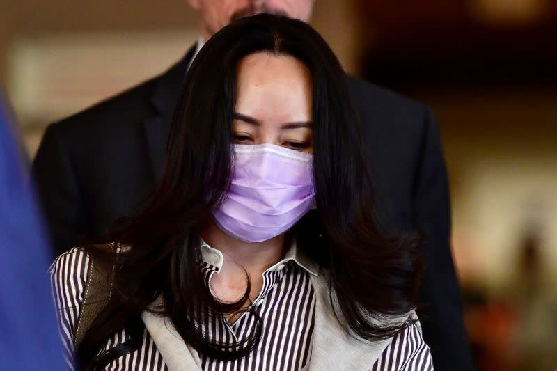 Huawei Technologies Chief Financial Officer Meng Wanzhou leaves a court hearing in Vancouver