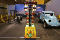 This image provided by the The Henry Ford, shows a drag strip display, part of the Driven To Win exhibit at the The Henry Ford Museum in Dearborn, Mich. (Wes Duenkel/The Henry Ford via AP)