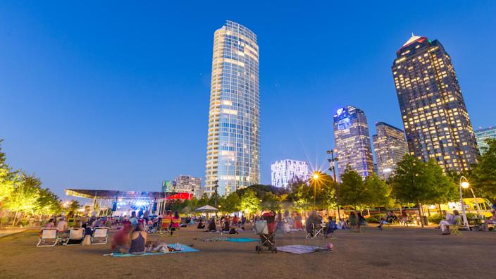 May 1, 2015 Dallas, TX USA: People are relaxing and picnicking in free music in the park event in Klyde Warren Park, uptown Dallas, TX.