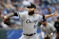 Chicago White Sox pitcher Dallas Keuchel throws against a Kansas City Royals batter in the first inning of a baseball game at Kauffman Stadium in Kansas City, Mo., Monday, July 26, 2021. (AP Photo/Colin E. Braley)