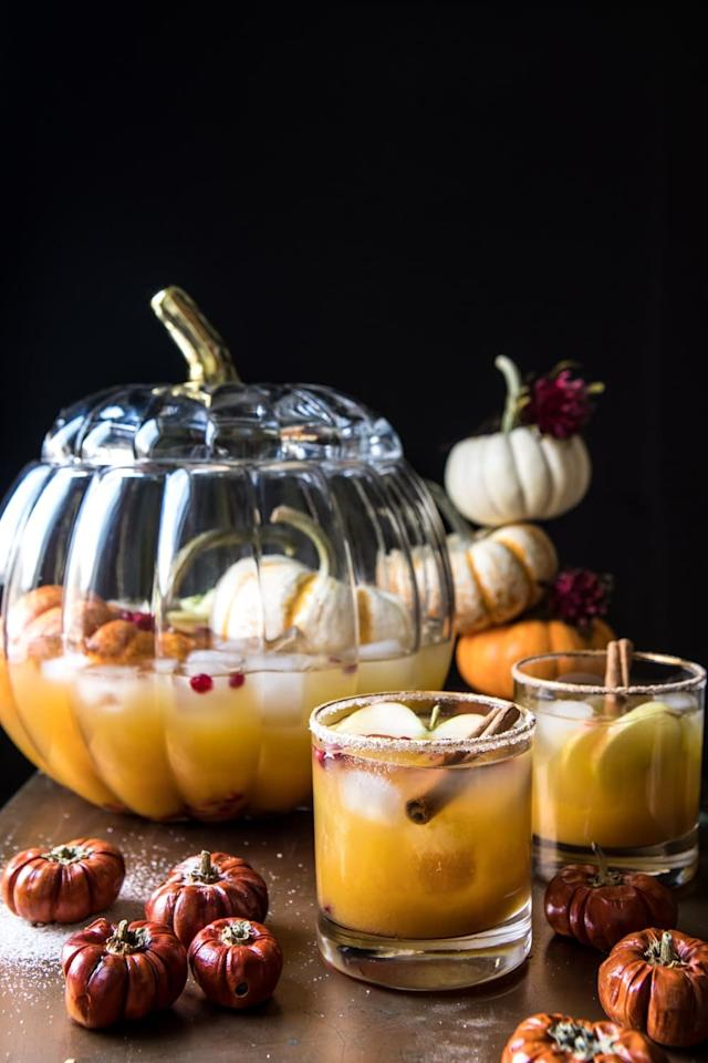 """<p>Tell us, is there anything better than a big bowl of punch? We think not. (Especially when it's this fall-flavored drink!) Concocted with apple cider, orange juice, lemon, spiced pumpkin butter, vodka, and brandy, you'll want to make an extra batch of this because it's just that good.</p> <p><strong>Get the recipe</strong>: <a href=""""https://www.halfbakedharvest.com/pumpkin-patch-punch/"""" target=""""_blank"""" class=""""ga-track"""" data-ga-category=""""internal click"""" data-ga-label=""""https://www.halfbakedharvest.com/pumpkin-patch-punch/"""" data-ga-action=""""body text link"""">pumpkin patch punch</a></p>"""
