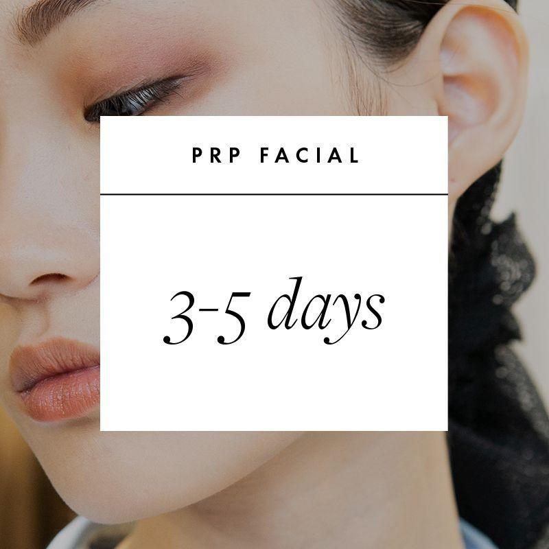 """<p><strong>What It Is: </strong>PRP facials, also known as """"vampire facials,"""" take platelet rich plasma from the patient's own blood and deliver it back into the skin via microneedling. Platelets contain high levels of growth factors, which stimulate cell turnover. </p><p><strong>Book Your Date:</strong> 3-5 days after. """"Immediately after, you'll be red and may have some soreness similar to a sunburn, but that'll typically resolve in 72 hours. More sensitive patients may have up to a week of a mild sunburn,"""" says Garritano. For the first week, you'll want to avoid any retinoids or exfoliating products and apply minimal makeup.</p>"""