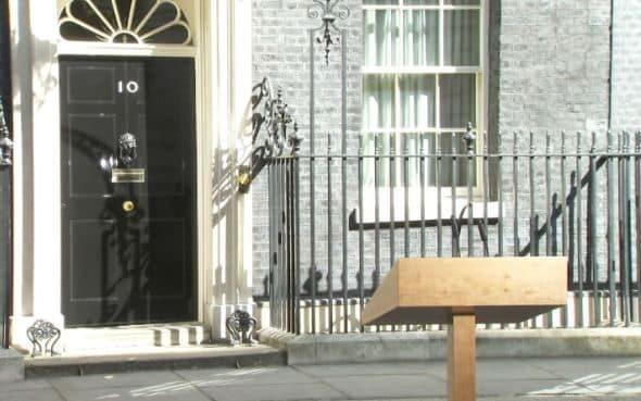There is no official Government badge on the lectern in Downing Street - Credit: Sky News