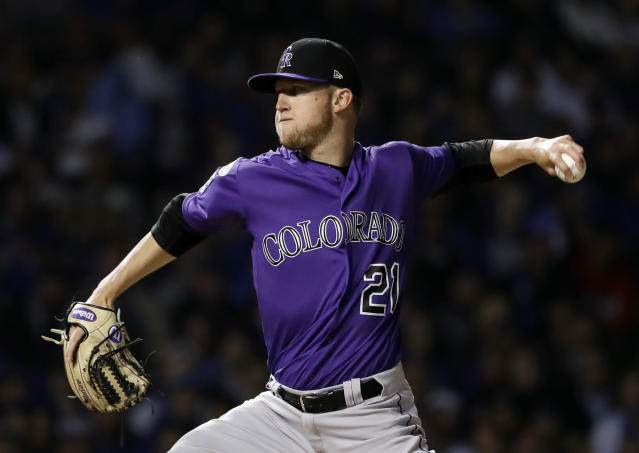 Colorado Rockies starting pitcher Kyle Freeland throws against the Chicago Cubs during the first inning of the National League wild-card playoff baseball game Tuesday, Oct. 2, 2018, in Chicago. (AP Photo/Nam Y. Huh)