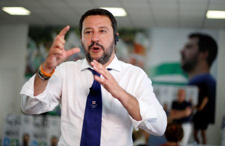 Northern League's leader Matteo Salvini answers journalists questions during a news conference in Milan