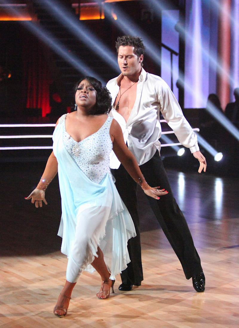 """In this April 2, 2012 photo, TV personality Sherri Shepherd, left, and her partner Val Chmerkovskiy perform on the celebrity dance competition series """"Dancing with the Stars,"""" in Los Angeles. (AP Photo/ABC, Adam Taylor)"""
