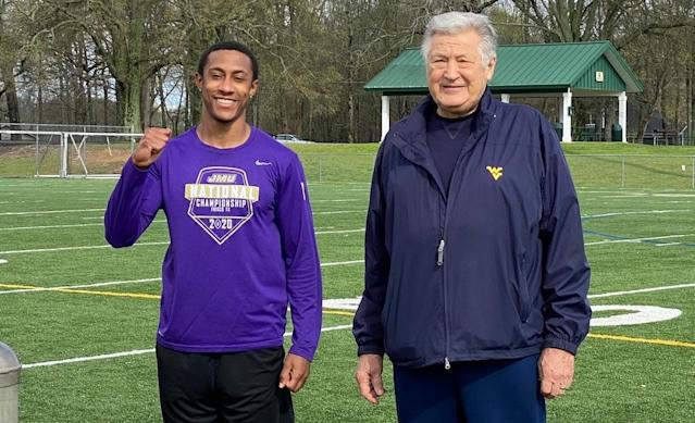 Former James Madison wide receiver Brandon Polk, left, with former Atlanta Falcons general manager Ken Herock during a makeshift pro day because of the COVID-19 pandemic. (Provided to Yahoo Sports)