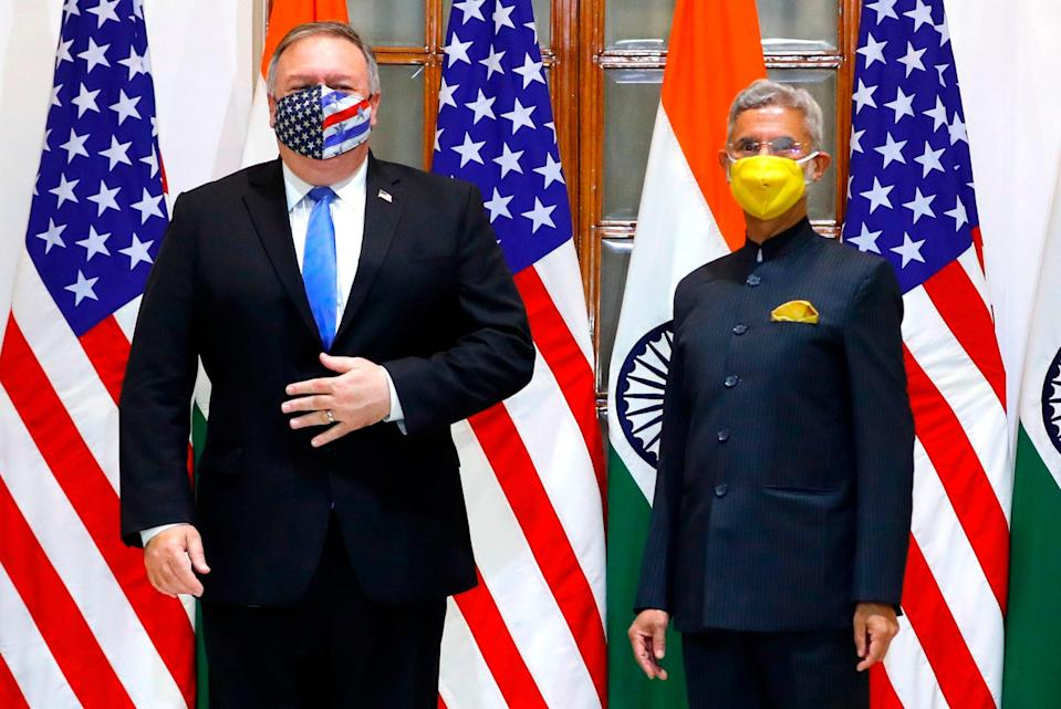 US Secretary of State Mike Pompeo (L) and India's Foreign Minister Subrahmanyam Jaishankar stand during a photo opportunity before their meeting at Hyderabad House in Delhi on Monday (POOL/AFP via Getty Images)