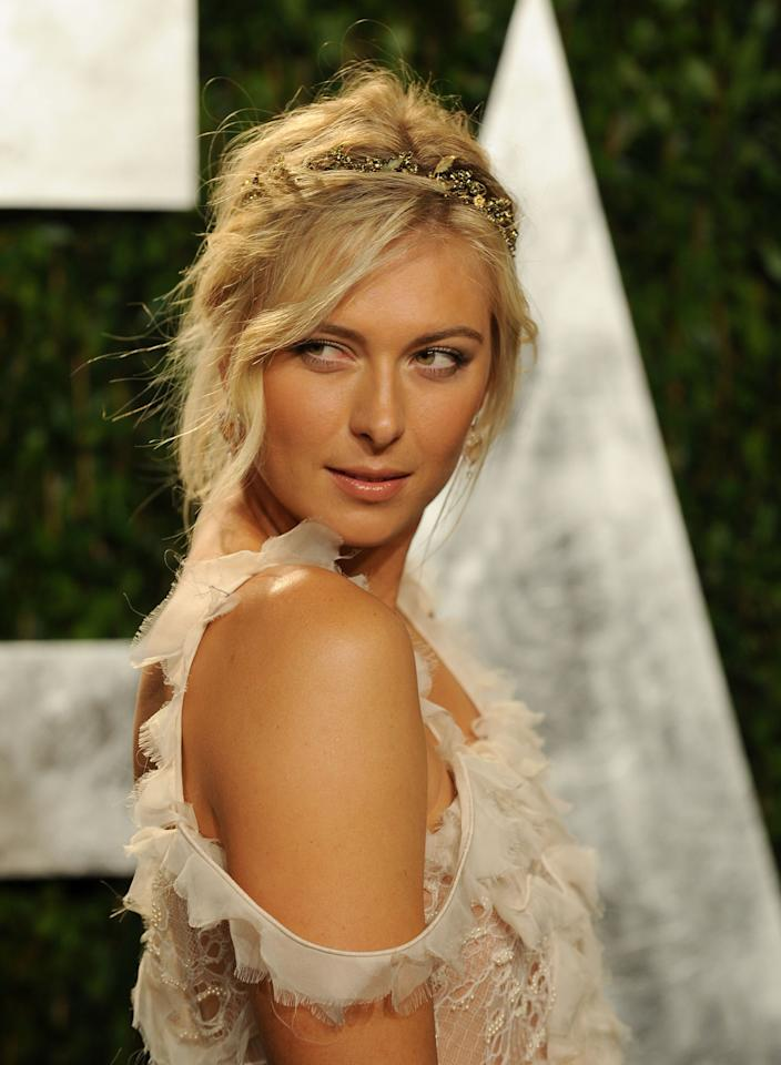 WEST HOLLYWOOD, CA - FEBRUARY 26:  Professional Tennis player Maria Sharapova arrives at the 2012 Vanity Fair Oscar Party hosted by Graydon Carter at Sunset Tower on February 26, 2012 in West Hollywood, California.  (Photo by Mark Sullivan/WireImage)