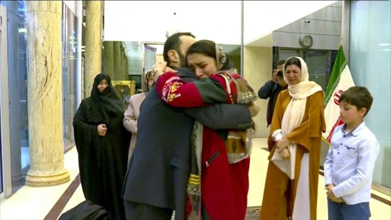Iranian state media released images of engineer Jallal Rohollahnejad being reunited with his family after his release by France