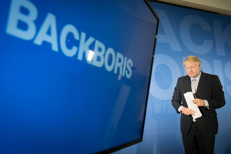 RETRANSMITTED AMENDING LOCATION Boris Johnson during the launch of his campaign to become leader of the Conservative and Unionist Party and Prime Minister at the Royal Academy of Engineering in central London.