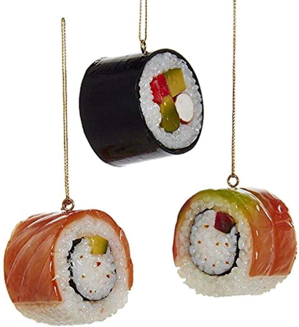 <p>They can theme their tree around sushi when they have this cute <span>Sushi Christmas Ornament Set</span> ($13).</p>