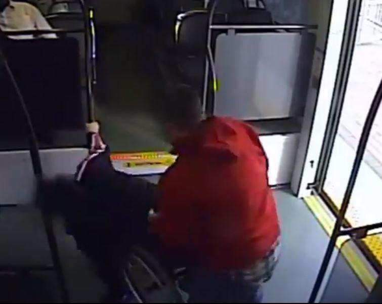 Still image from CCTV footage of man allegedly tipping woman out of wheelchair before trying to steal in on train in Phoenix, Arizona, 29 November 2019: Phoenix Police Department