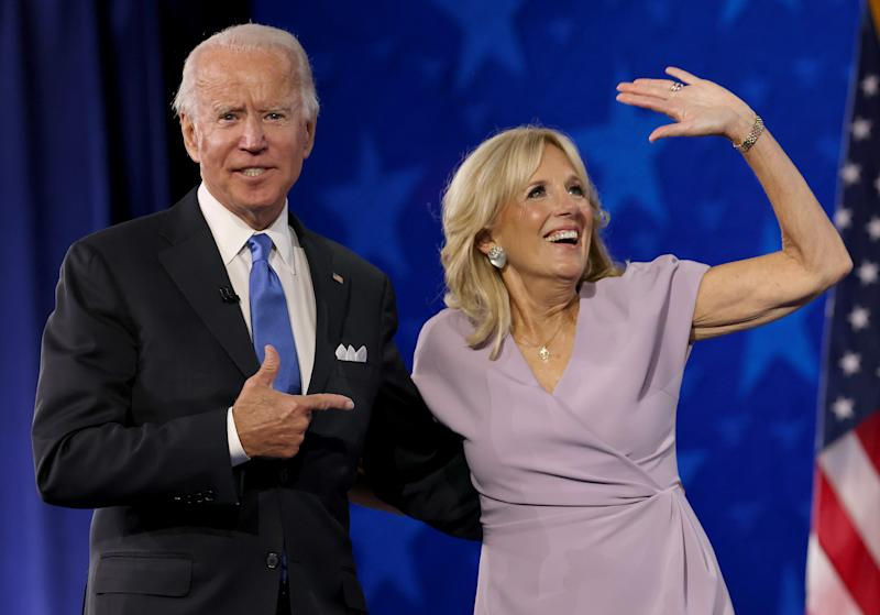 WILMINGTON, DELAWARE - AUGUST 20: : Democratic presidential nominee Joe Biden appears oh stage with his wife Dr. Jill Biden after delivering his acceptance speech on the fourth night of the Democratic National Convention from the Chase Center on August 20, 2020 in Wilmington, Delaware. The convention, which was once expected to draw 50,000 people to Milwaukee, Wisconsin, is now taking place virtually due to the coronavirus pandemic. (Photo by Win McNamee/Getty Images)