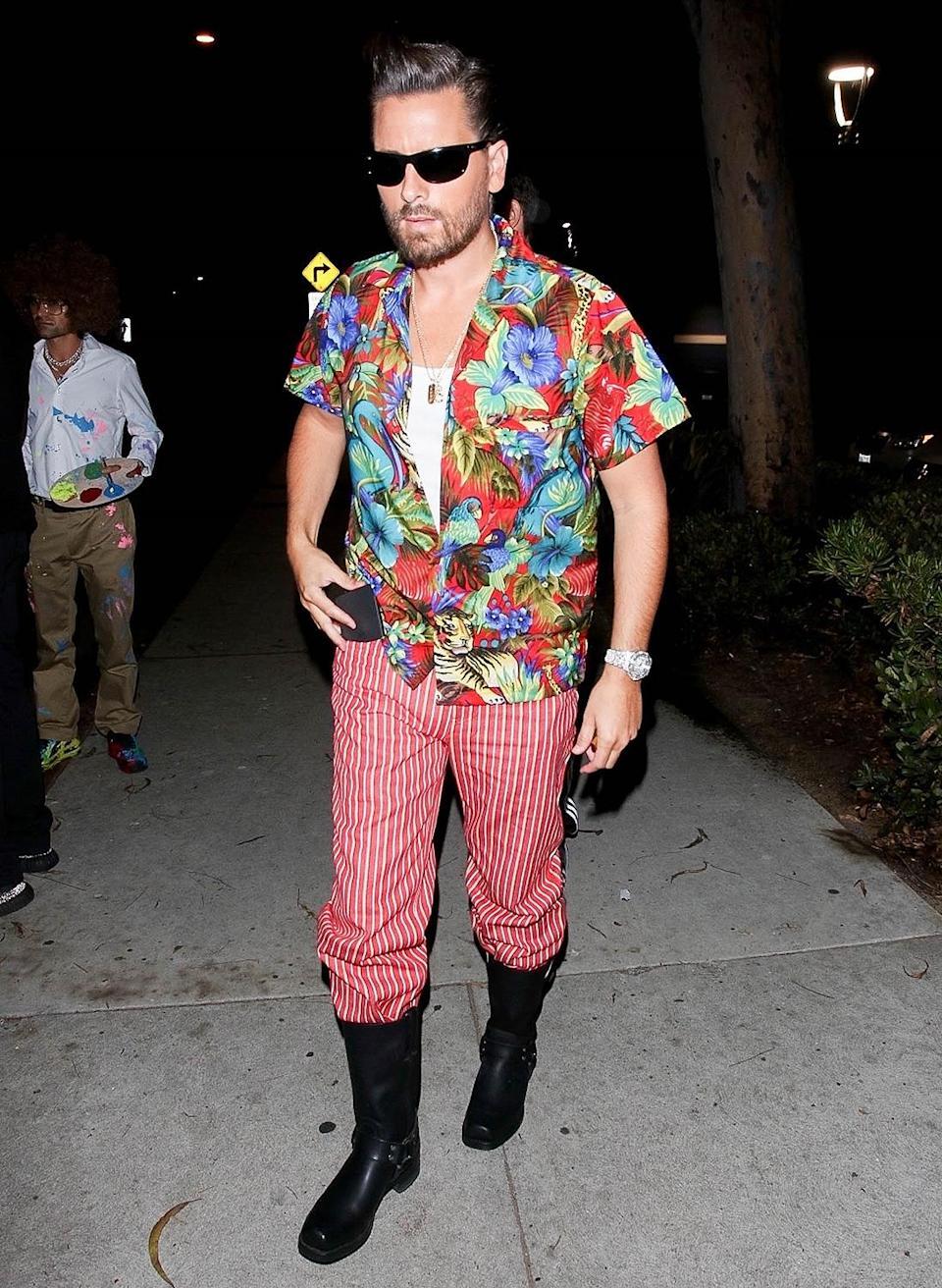<p>Scott Disick dressed up in a <em>Ace Ventura</em> costume in Santa Monica, California, for Halloween.</p>