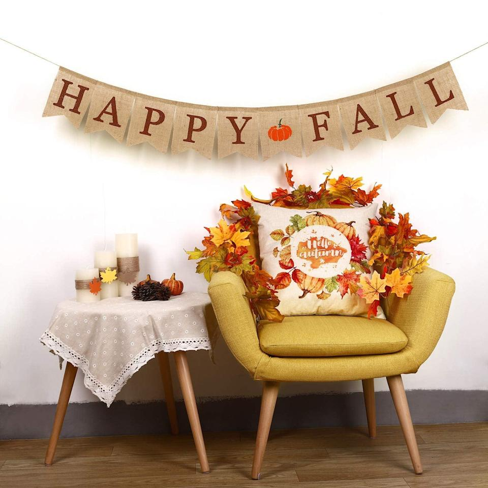 <p>Really get in the mood with this <span>Whaline Happy Fall Burlap Banner</span> ($9).</p>