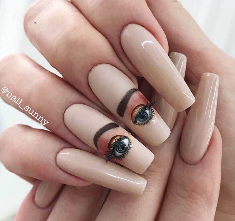 Russian nail art features blinking eyeballs