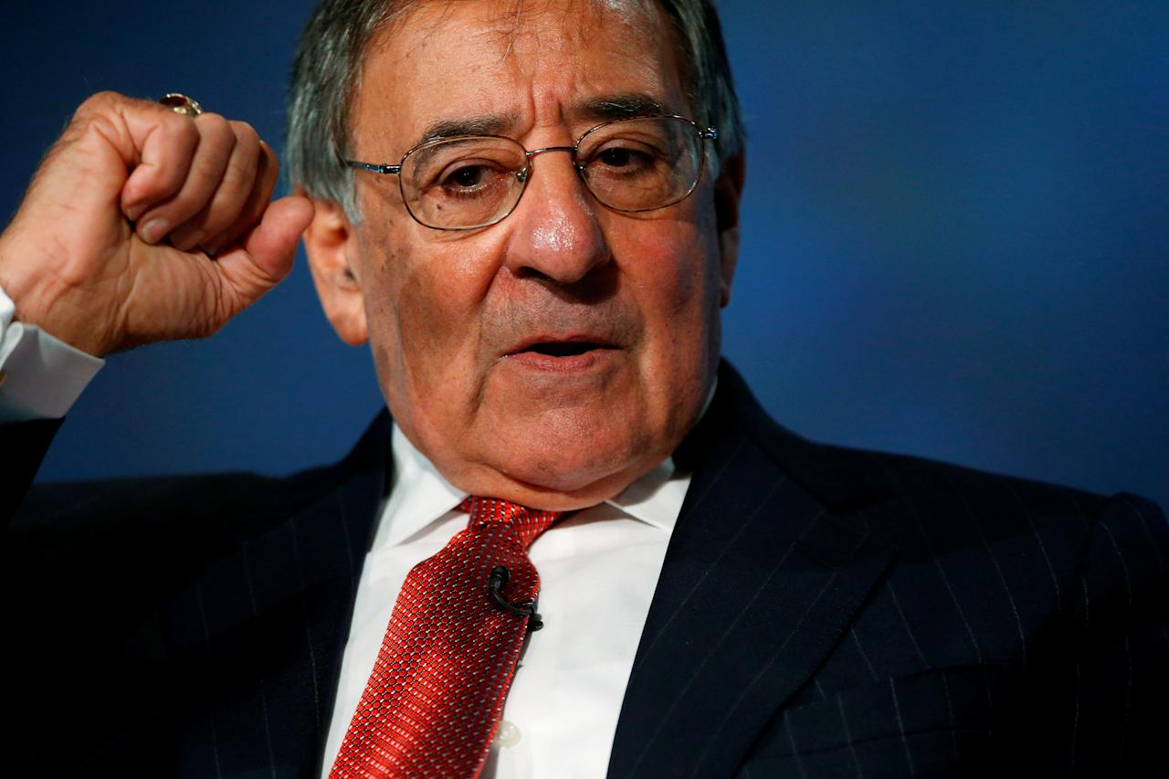 FILE PHOTO: Former U.S. Secretary of Defense Leon Panetta discusses his new book 'Worthy Fights' at George Washington University in Washington, U.S., October 14, 2014. To Match Special Report USA-NUCLEAR/ICBM  REUTERS/Jonathan Ernst/File Photo