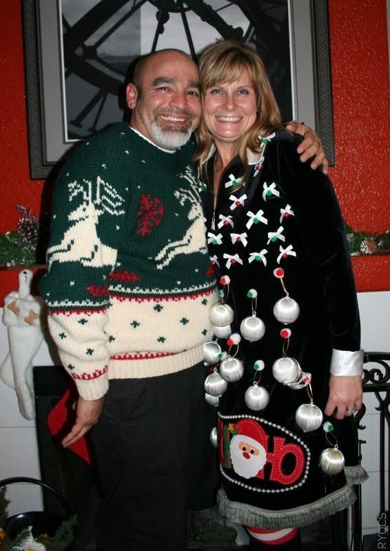 """<div class=""""caption-credit""""> Photo by: Rock Your Ugly Christmas Sweater</div>The woman on the right has turned herself into a living Christmas tree."""