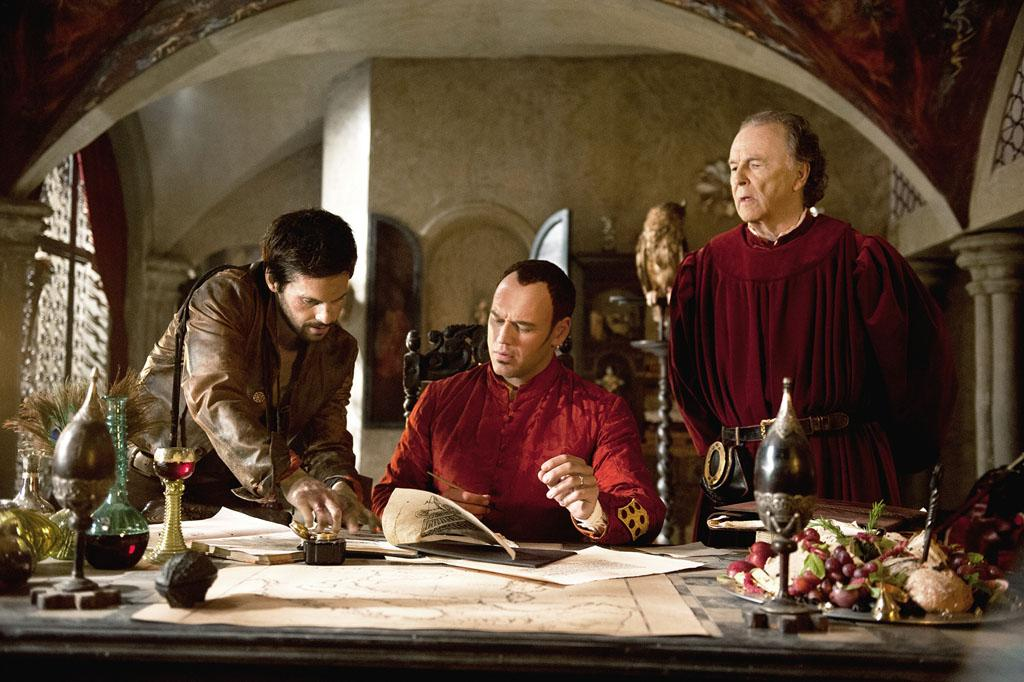 "Gentile Becchi (Michael Elwyn),  Leonardo Da Vinci (Tom Riley) and  Lorenzo Medici (Elliot Cowan) in ""Da Vinci's Demons"" on Starz."