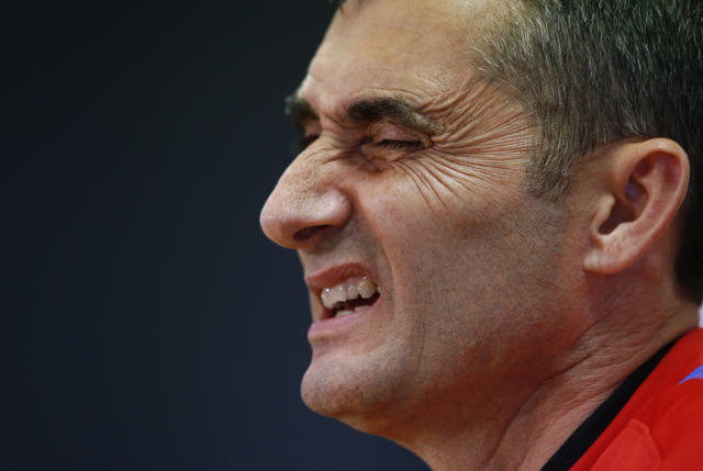 FC Barcelona's coach Ernesto Valverde gestures during a press conference at the Sports Center FC Barcelona Joan Gamper in Sant Joan Despi, Spain, Friday, April 20, 2018. Sevilla will play against FC Barcelona in the Spanish Copa del Rey soccer final on Saturday. (AP Photo/Manu Fernandez)