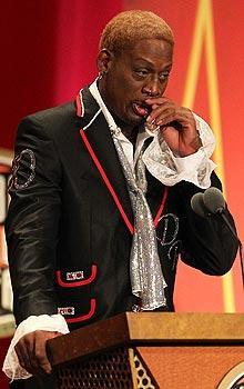 Dennis Rodman delivered a raw, emotional speech during his induction into the Hall