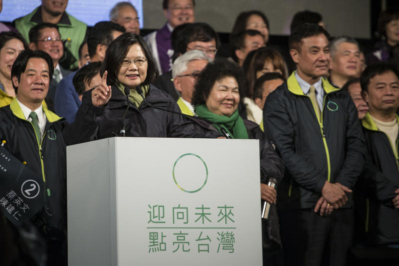 TAIWAN - 2016/01/16: Tsai Ing-wen giving speech in her election campaign. General elections were held in Taiwan on 16 January 2016 in order to elect the 14th President of the Republic of China and the 113 members of the 9th Legislative Yuan. Tsai Ing-wen of the Democratic Progressive Party (DPP) was elected to be the President with 56% of the votes and became the first female president in the history of Taiwan. (Photo by Chan Long Hei/Pacific Press/LightRocket via Getty Images)