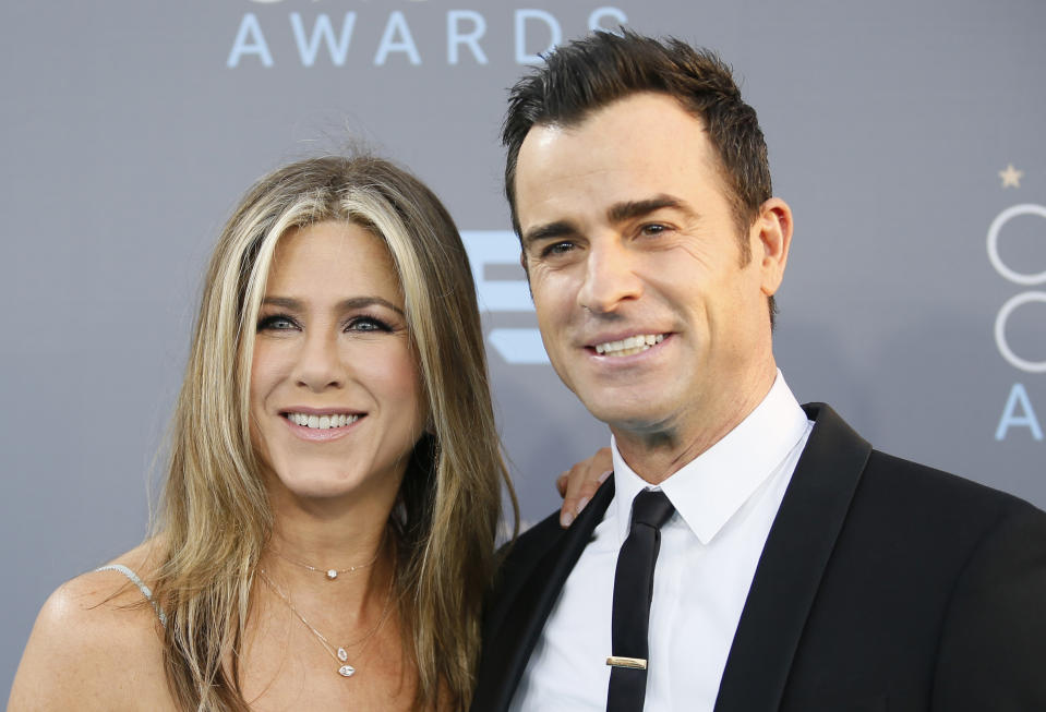 Actors Jennifer Aniston and Justin Justin Theroux arrive at the 21st Annual Critics' Choice Awards in Santa Monica, California January 17, 2016.  REUTERS/Danny Moloshok