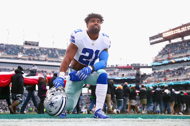 "<a class=""link rapid-noclick-resp"" href=""/nfl/teams/dal"" data-ylk=""slk:Dallas Cowboys"">Dallas Cowboys</a> running back <a class=""link rapid-noclick-resp"" href=""/nfl/players/29238/"" data-ylk=""slk:Ezekiel Elliott"">Ezekiel Elliott</a> is being sued for more than $1 million in damages after a 2017 car collision in Frisco, Texas. (Getty Images)"