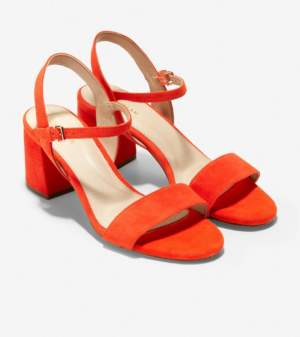 """<h2>Summer Sandals on Sale</h2> <br>It's the <a href=""""http://refinery29.com/en-us/2020/07/9915084/summer-sandals-on-sale-2020"""" rel=""""nofollow noopener"""" target=""""_blank"""" data-ylk=""""slk:summer of sandal sales"""" class=""""link rapid-noclick-resp"""">summer of sandal sales</a>! And while the original top-selling pair from our coverage of Cole Haan's still live blowout event is currently sold out, this extremely top-rated style for 81% off is very much in stock. Crafted with a vibrant red-orange suede upper and a 2.5-inch block heel, this 4.9-out-of-5 favorite has garnered praise from, """"I am buying two other colors. This is my 7th shoe from ColeHaan this summer. This Summer is one of great and comfy shoes,"""" to """"Beautiful and very comfortable sandal — orange red with a very padded footbed — I want one in every color! Perfect sandal! And the price cannot be beaten for Cole Haan shoes!"""". <br><br><em>Shop <strong><a href=""""https://www.colehaan.com/womens-sale-shoes-sandals"""" rel=""""nofollow noopener"""" target=""""_blank"""" data-ylk=""""slk:Cole Haan"""" class=""""link rapid-noclick-resp"""">Cole Haan</a></strong></em><br><br><strong>Cole Haan</strong> Josie Block Heel Sandal, $, available at <a href=""""https://go.skimresources.com/?id=30283X879131&url=https%3A%2F%2Fwww.colehaan.com%2Fjosie-block-heel-sandal-poinciana-suede%2FW19552.html"""" rel=""""nofollow noopener"""" target=""""_blank"""" data-ylk=""""slk:Cole Haan"""" class=""""link rapid-noclick-resp"""">Cole Haan</a><br><br><br>"""