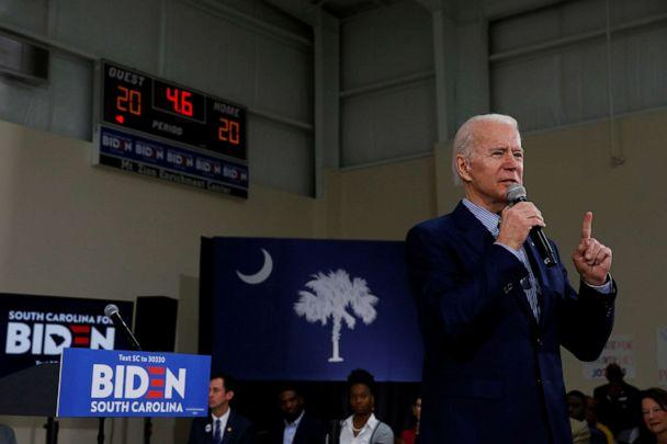 PHOTO: Democratic presidential candidate and former Vice President Joe Biden speaks during a campaign event in Sumter, SC., Feb. 28, 2020. (Elizabeth Frantz/Reuters)