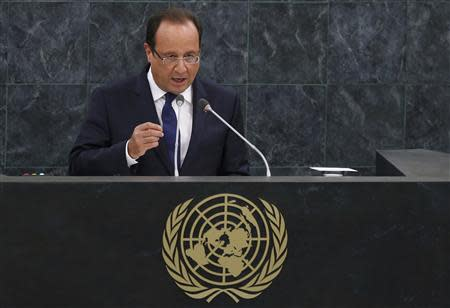 French President Francois Hollande addresses the 68th United Nations General Assembly at UN headquarters in New York, September 24, 2013. REUTERS/Mike Segar