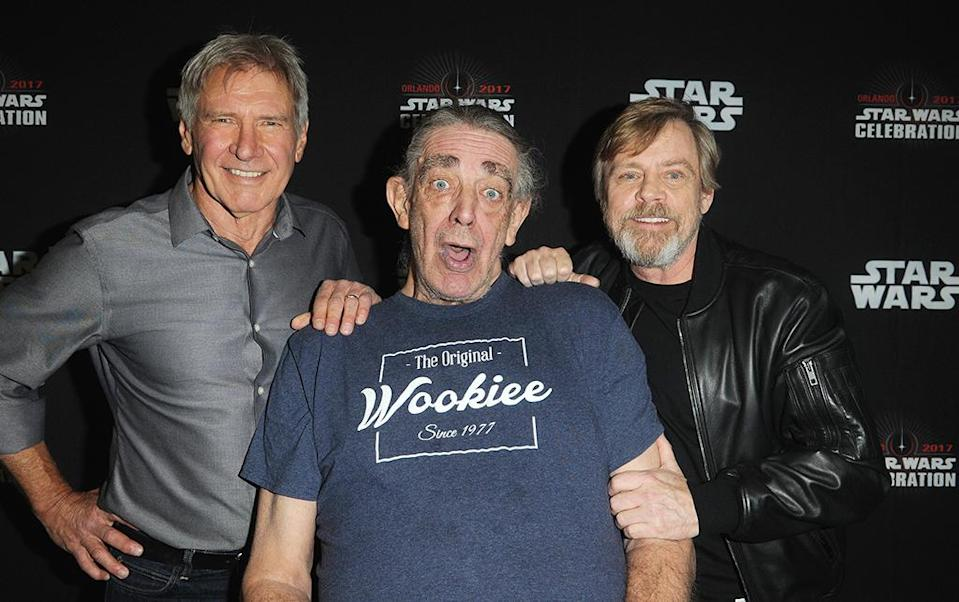 <p>Harrison Ford, Peter Mayhew and Mark Hamill (Photo: Gerardo Mora/Getty Images) </p>