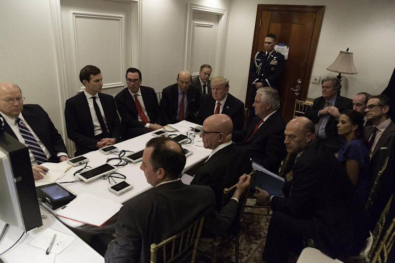 Briefing: President Donald Trump is briefed by his national security team on the air strike in Syria (Sean Spicer)