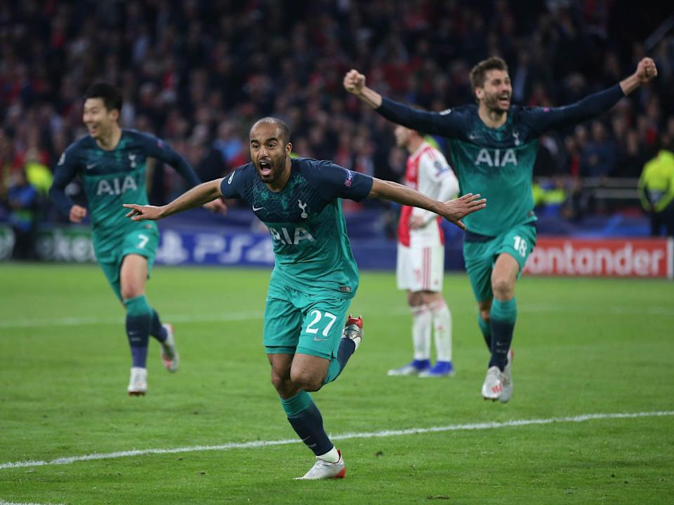Tottenham forward Lucas Moura celebrates scoring against Ajax (Tottenham Hotspur FC via Getty Images)
