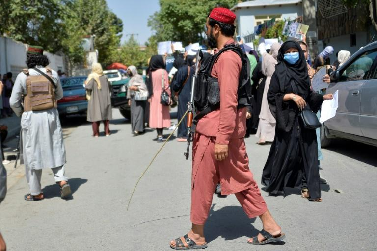As the Taliban transition from militant force to governing power, they face a growing number of protests against their rule (AFP/Hoshang Hashimi)